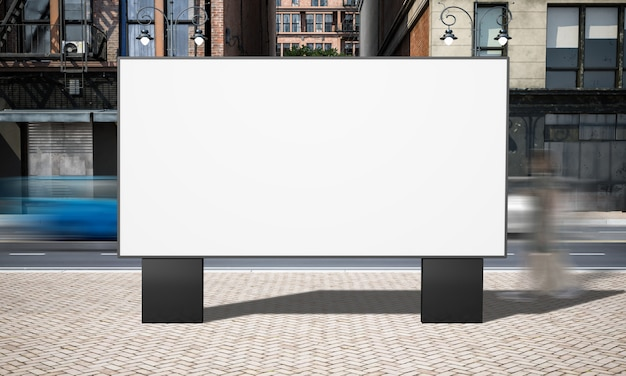 Street advertising horizontal billboard mockup