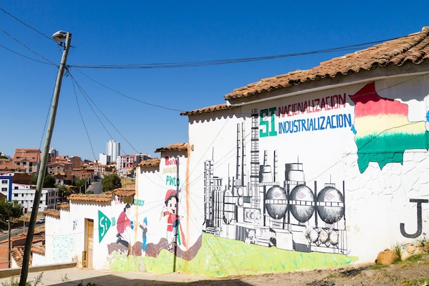 Стрит-арт из сукре, боливия. боливийский город