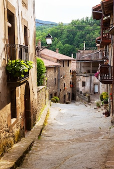 Street of catalan town in pyrenees