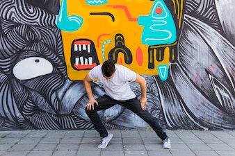 Street dancer dancing on street