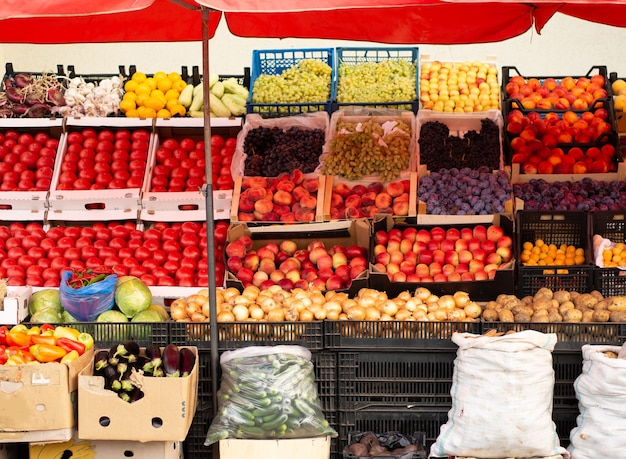Street food shop with vegetables and fruits