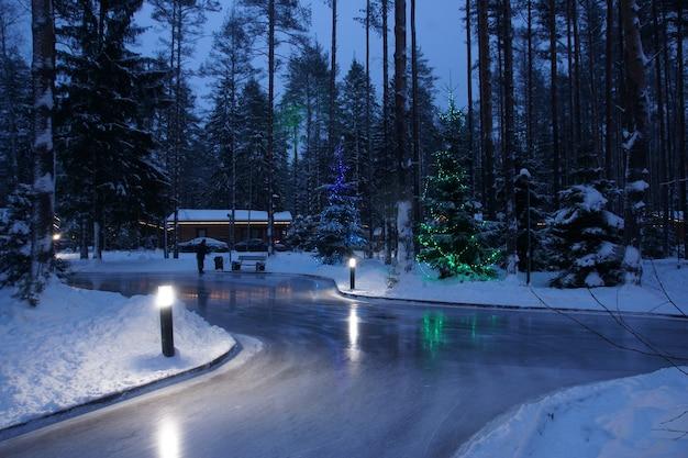 明るい灯籠のある森の真ん中にあるストリートアイススケートリンク