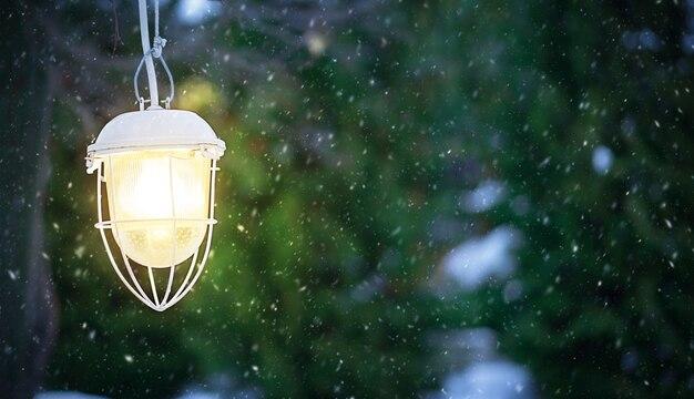 街灯が明るく輝いています雪が降っています