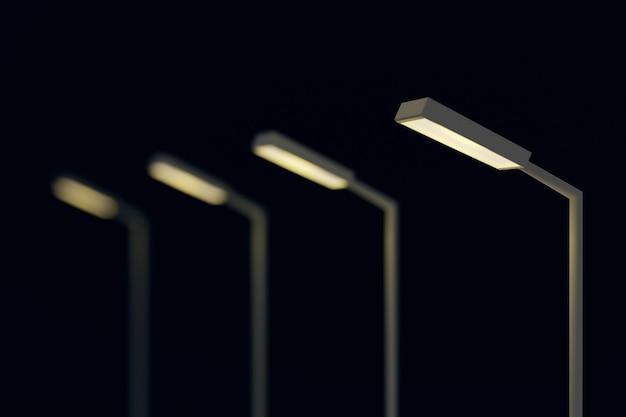 어두운 밤 장면에서 가로등 게시물.