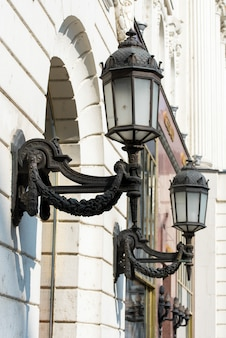Street lights in the center of the building