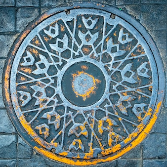 Street manhole cover texture and background