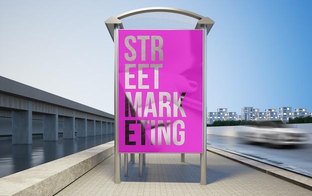 ストリートマーケティングバス停のモックアップ3dレンダリング