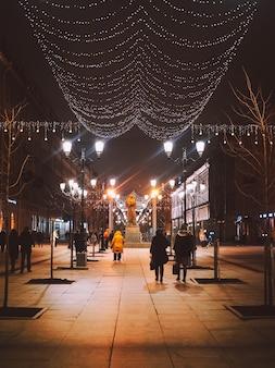 Улица рождества санкт-петербург, везде украшения, огни, елки, декор.