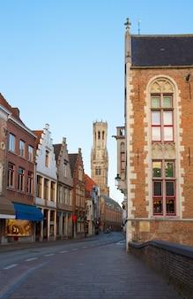 Street  of old bruges with belfort tower, belgium