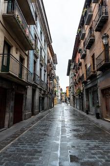 Street in the old part of the town of azkoitia next to the urola river, gipuzkoa. basque country