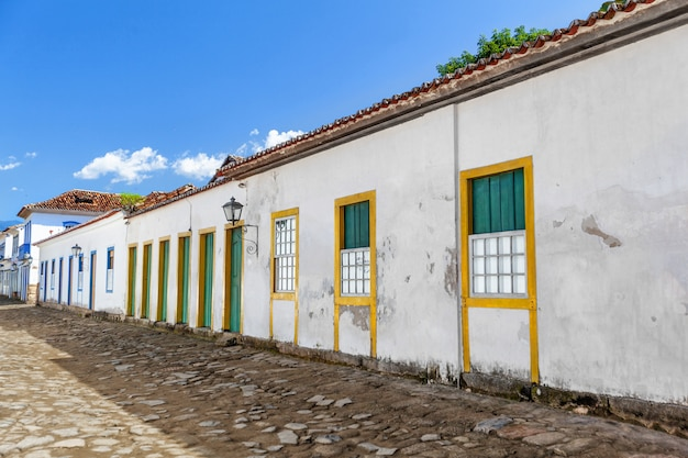 Street and old portuguese colonial houses in historic downtown in paraty, state rio de janeiro