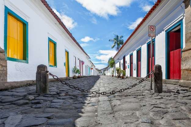 Street and old portuguese colonial houses