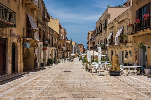 Street in the old town of castellammare del golfo