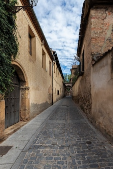 Street in the old town of segovia. spain.