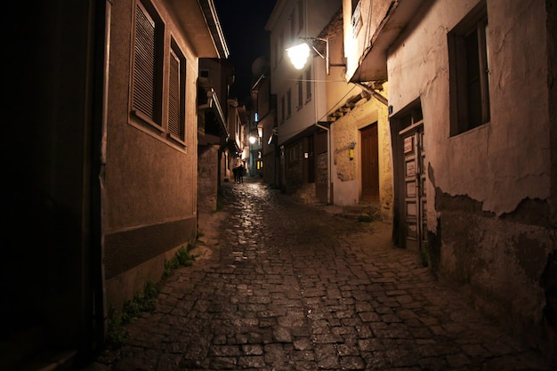 Street in orchid city, macedonia at night