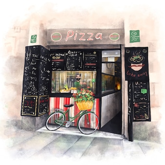 Street pizzeria with a cheerful italian chef