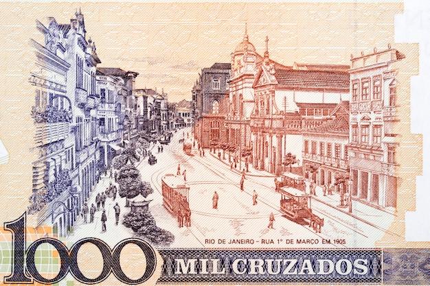 오래된 브라질 돈에서 오래된 리우데자네이루의 거리 풍경