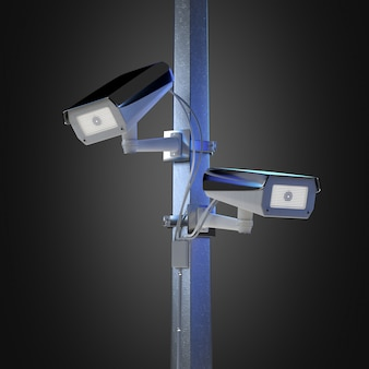 Street security cctv camera isolated on- 3d rendering