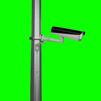 Street security cctv camera isolated on green screen - 3d rendering