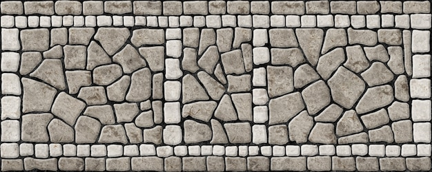 Street sidewalk made of stones. mosaic with a natural stone texture.