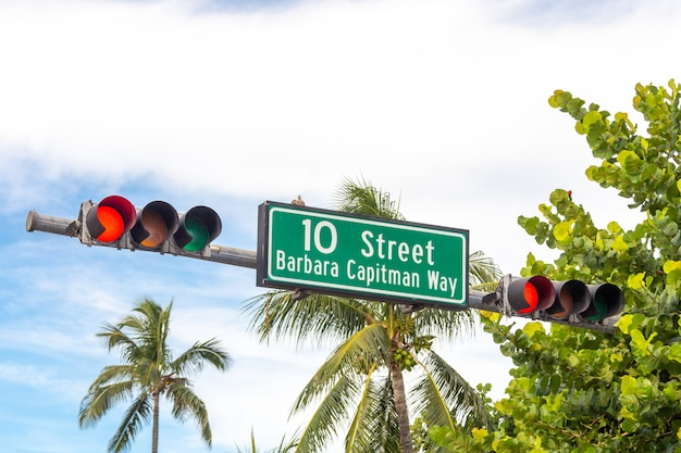 Street sign for barbara capitman way and 10th street at south beach, miami, florida, usa