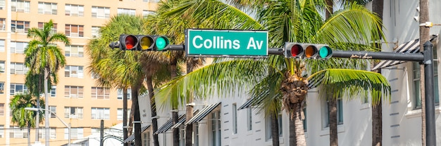 Street sign of famous collins avenue, miami, florida, usa