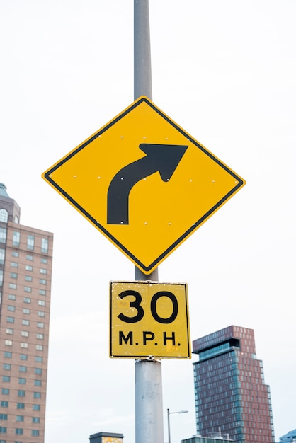 Street signs with blurred city background
