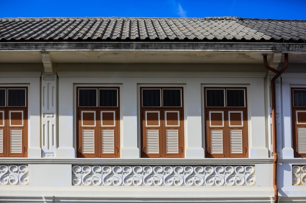 Street sino-portuguese architecture of many the buildings in phuket town
