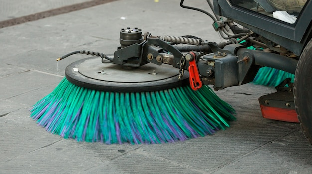 Street sweeper machine cleaning the streets