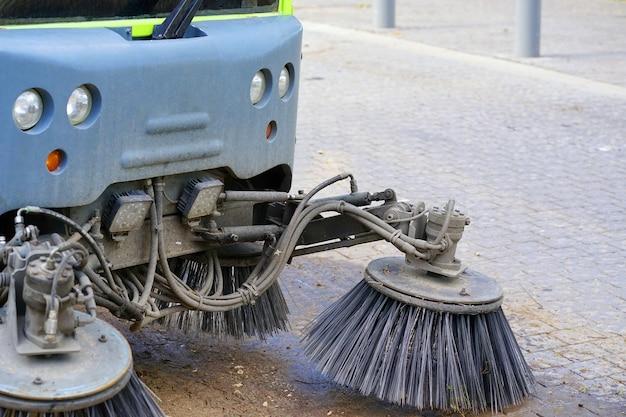 Street sweeper machine working. street cleaning machine.