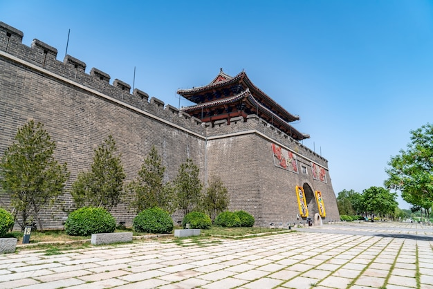 Street view of ancient buildings of dongchanghu tower in liaocheng, shandong province