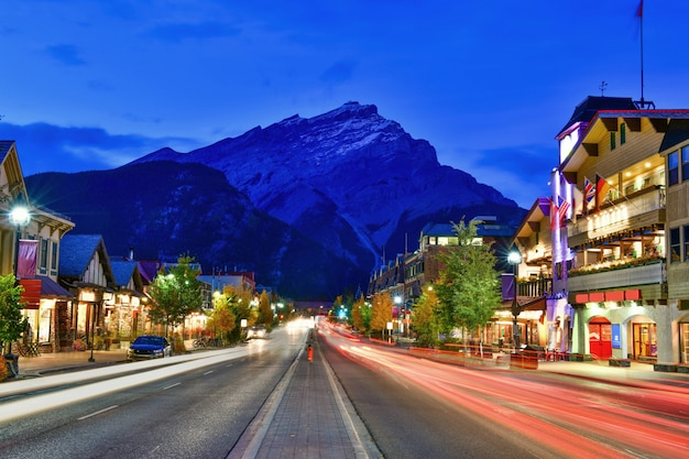 Street view of avenue at twilight time in alberta, canada