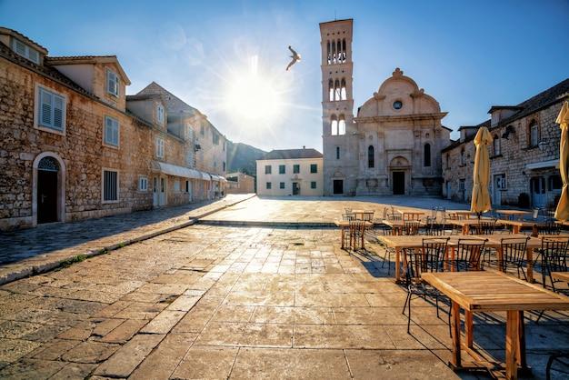 Street view of hvar town in croatia.