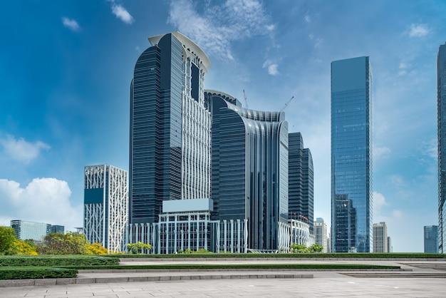 Street view of modern office buildings