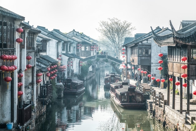 Street view of old buildings in suzhou ancient town