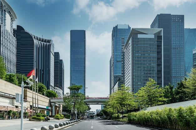Street view of urban modern office buildings