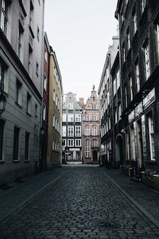 Street view with buildings in old town of gdansk, poland. architecture of eastern europe.
