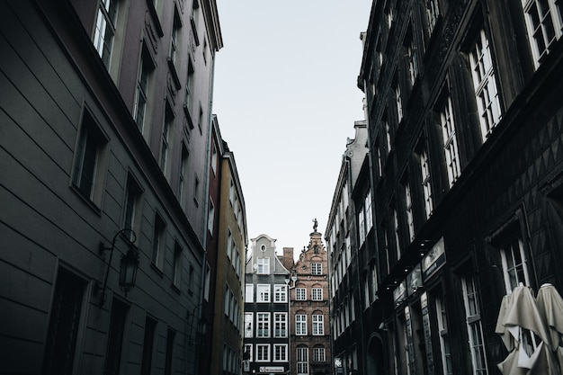 Street view with buildings in old town of gdansk, poland