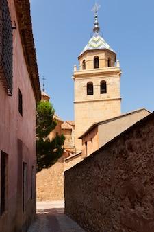 Street with church in albarracin. aragon
