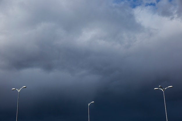 Streetlights on cloudy day