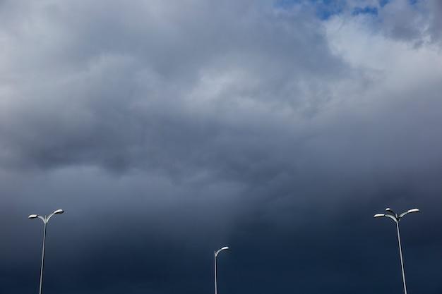 Streetlights on cloudy day