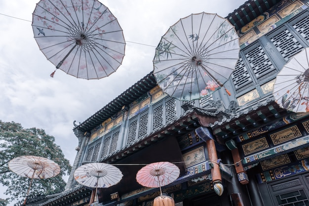 Streets and umbrellas in zhoucun ancient town