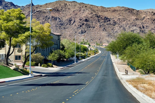 Streetscape of town in nevada, usa