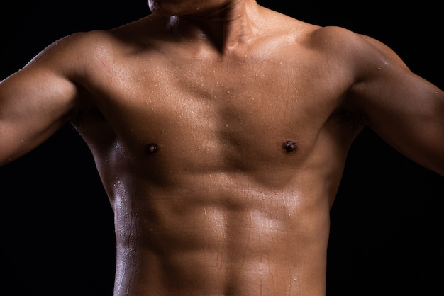 Strength fitness body with sweat