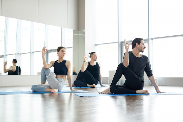 Strengthening spinal core at yoga practice