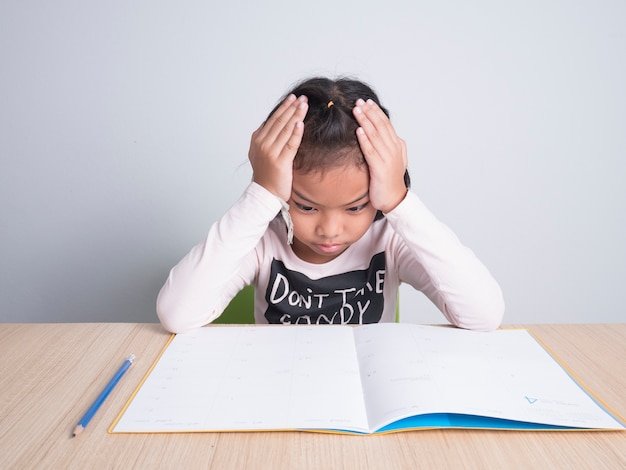 Stress kid with homework