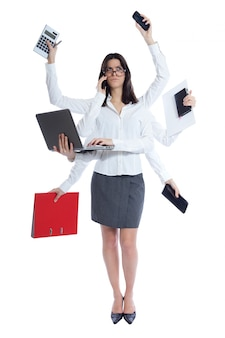 Stressed businesswoman at work. Isolated on white