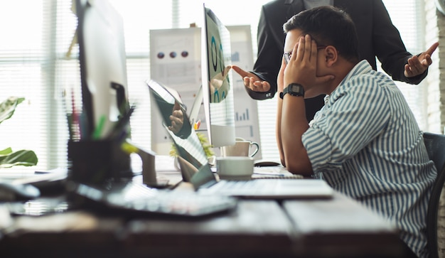 Stressed employees after he worked not targeted and he was the boss blame