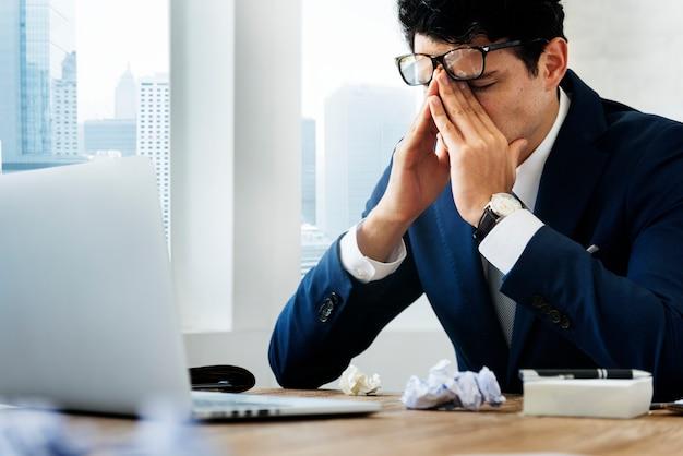 Stressed gesture businessman workplace concept