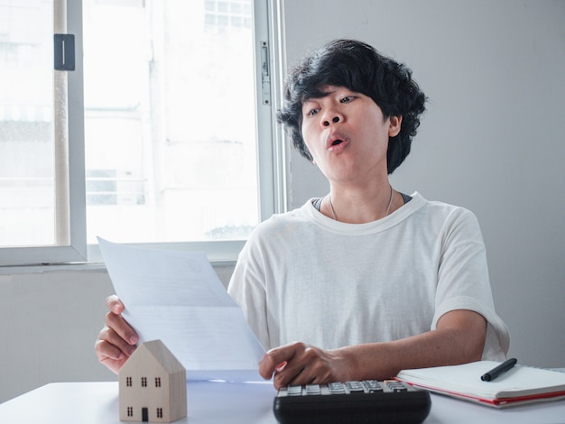 Stressed woman feeling desperate about financial problems, dismissive notice, failed test